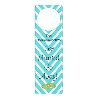 Just Married Aqua Blue Chevron Door Hanger