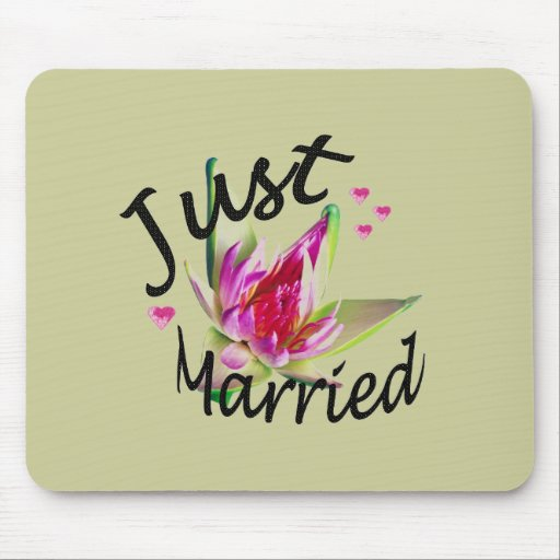 """""""Just Married"""" Asian Floral Mousepad"""
