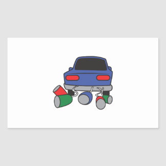 JUST MARRIED AUTOMOBILE RECTANGULAR STICKERS
