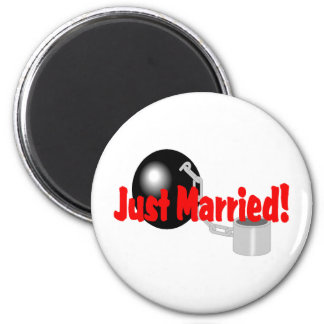 Just Married Ball and Chain Fridge Magnets