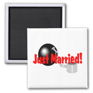 Just Married Ball and Chain Refrigerator Magnets