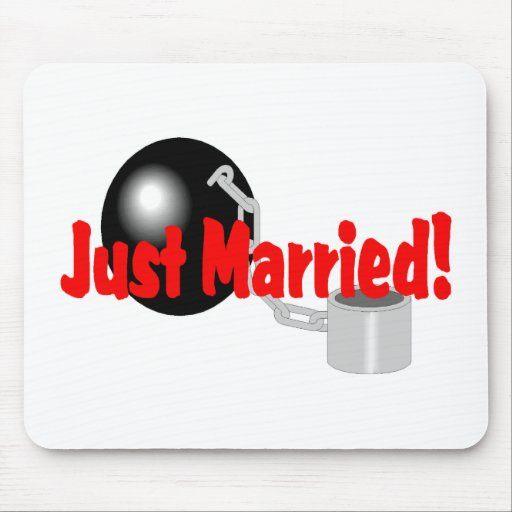 Just Married Ball and Chain Mouse Pads