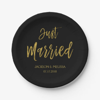 Just Married Black and Gold Foil Paper Plates 7 Inch Paper Plate