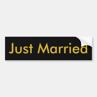 Just Married Black Bumper Sticker, Gold Letters Bumper Sticker