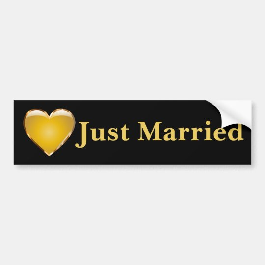 Just Married Black Bumper Sticker with Gold Heart