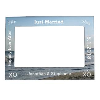 Just Married Blue Beach Sand Wedding Frame Magnet