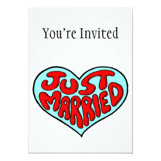 Just Married Blue Heart 13 Cm X 18 Cm Invitation Card