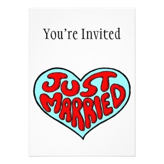 Just Married Blue Heart Personalized Invitation