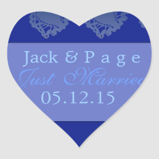 Just married blue heart label stickers