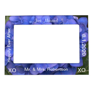 Just Married Blue Hydrangea Magnetic Frame