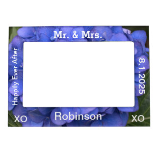 Just Married Blue Hydrangea Magnetic Photo Frames