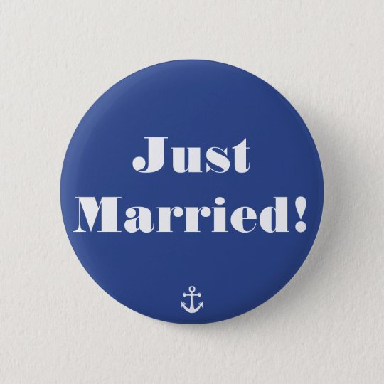 Just Married! Blue Nautical Wedding Buttons