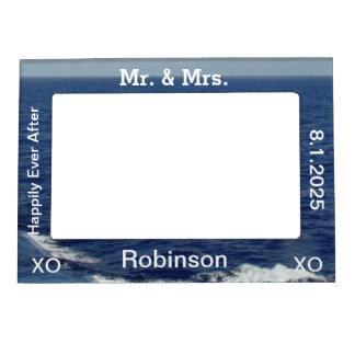 Just Married Blue Ocean Waves Wedding Frame Magnet