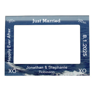 Just Married Blue Ocean Waves Wedding Magnetic Photo Frame