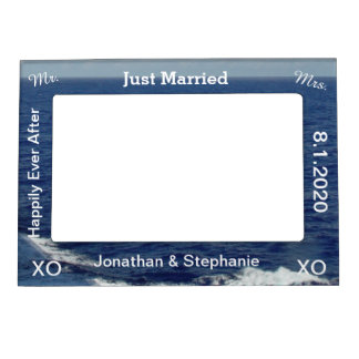 Just Married Blue Ocean Waves Wedding Picture Frame Magnets