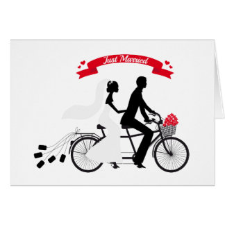 Just married bride and groom on tandem bicycle greeting card