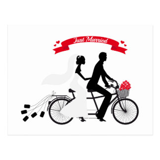 Just married bride and groom on tandem bicycle postcard
