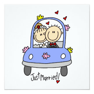 Just Married Bride and Groom T-shirts and Gifts Card