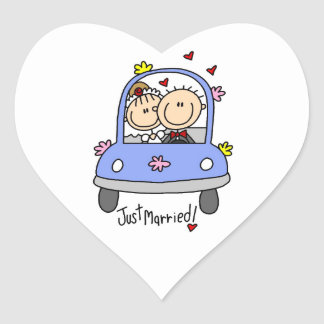 Just Married Bride and Groom T-shirts and Gifts Heart Sticker