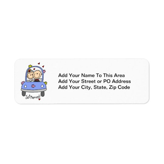 Just Married Bride and Groom T-shirts and Gifts Return Address Label