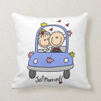 Just Married Bride and Groom T-shirts and Gifts Throw Pillow