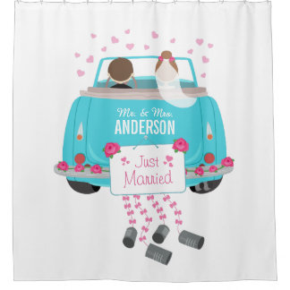 Just Married Bride and Groom Wedding Car Shower Curtain