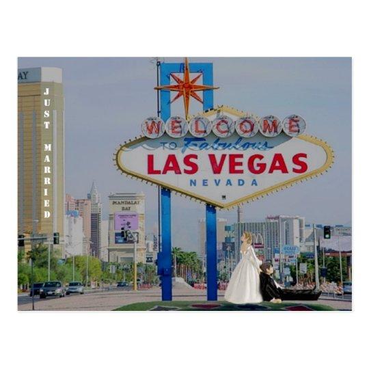 JUST MARRIED Bride drag Groom Las Vegas Postcard