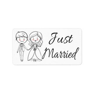 Just Married Bride & Groom Black & White Wedding Address Label