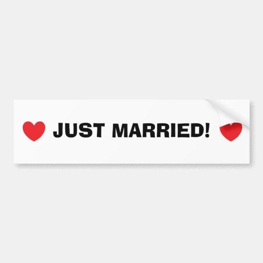 """Just Married"" Bumper Sticker"