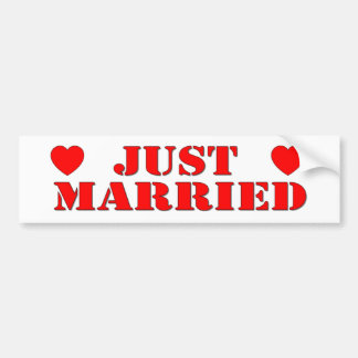 Just Married Bumper Sticker red hearts stencil