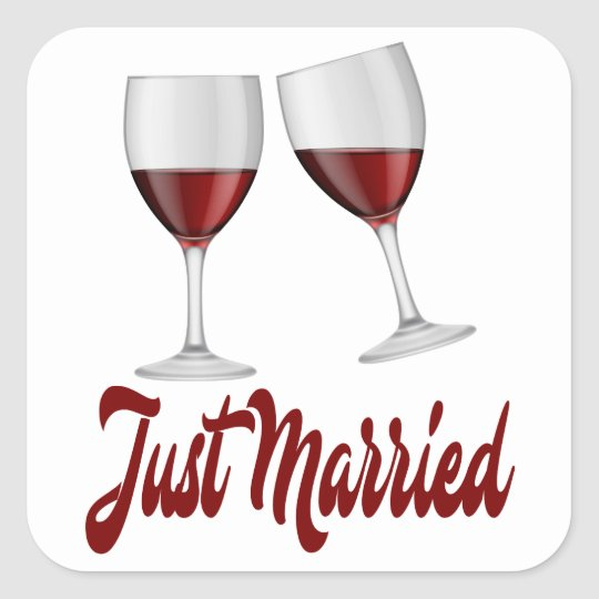 Just Married Burgundy Red Wine Glasses Square Sticker