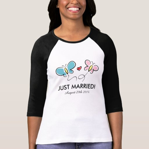 Just married butterfly t shirt with wedding date tee shirt