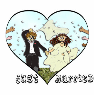 Just Married Cake Topper Standing Photo Sculpture