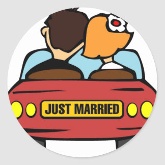 Just Married Car and Couple Round Sticker