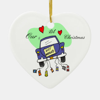 Just Married Car Christmas Ornament