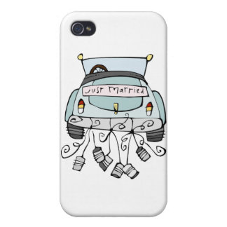 Just married car dragging cans iPhone 4 case