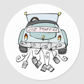 Just married car dragging cans round sticker
