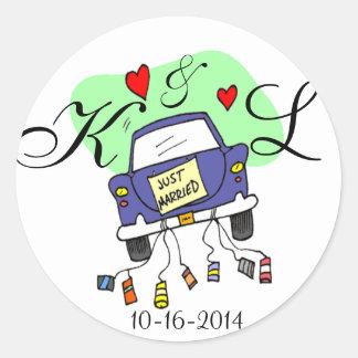 Just Married Car Round Sticker
