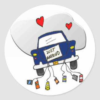 Just Married Car Round Sticker