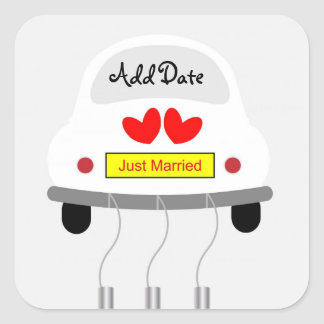 """Just Married"" Car Square Sticker"