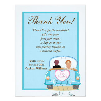Just Married Car Wedding Flat Thank You Card