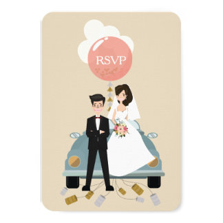 Just married car wedding Respond card. Card
