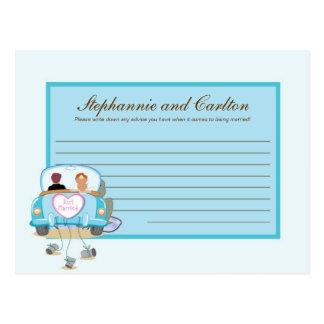 Just Married Car Wedding Writable Advice Card Postcard