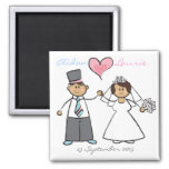 Just Married! Cartoon Wedding Couple Announcement Square Magnet