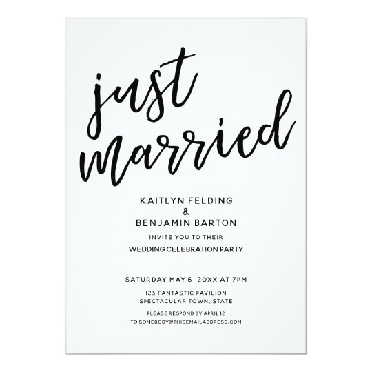 """Just Married"" Casual, Modern Wedding Reception Card"