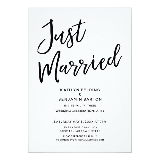 Just Married Casual Modern Wedding Reception Invitation Zazzle