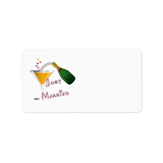 Just Married Champagne Wedding Toast Address Label