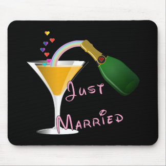 Just Married Champagne Wedding Toast Mousepad