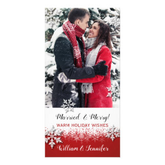 Just Married Christmas Photo Card