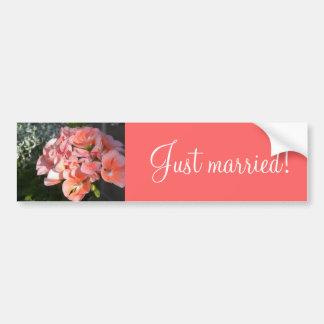 Just married coral geraniums bumper sticker